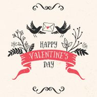 Valentine's day greeting card with lettering ribbon birds
