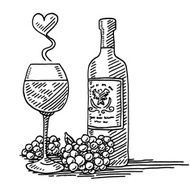 Red Wine Glass Bottle Grapes Love Drawing