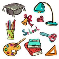 Back to school education icons cartoon set