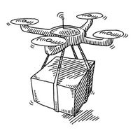 Flying Drone Parcel Delivery Drawing