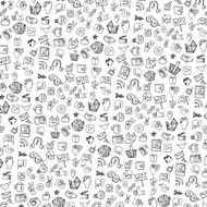 Social Media Icon pattern background Doodle sketchy Notepaper