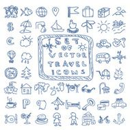 Set of travel vector doodles icons