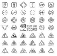 Vector set of doodles road sign icons