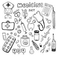 Hand drawn healthcare and medicine doodle icon set