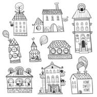 set of outline hand drawn buildings