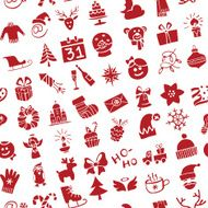 Christmas New Year icons silhouette seamless pattern