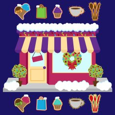Vector Snow Covered Shop Decorated for Winter and Christmas N2