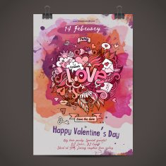 Vector love doodles watercolor party poster