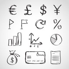 Ink style sketch set - finance icons