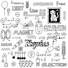 Physics Hand drawn Vector illustration Black and white