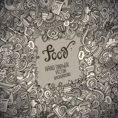 Abstract vector decorative doodles food background