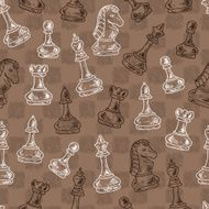 Hand drawn doodle Chess Pieces Vector Seamless pattern