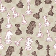 Hand drawn doodle Chess Pieces Vector Seamless pattern N2