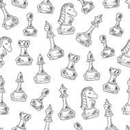 Hand drawn doodle Chess Pieces Vector Seamless pattern N4