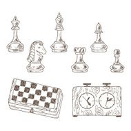 Hand drawn doodle Chess Pieces Vector Set