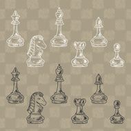 Chess Pieces Set Doodle king queen bishop knight rook pawn