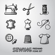 Set of handdrawn sewing icons - machine scissors thread leather