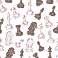 Hand drawn doodle Chess Pieces Vector Seamless pattern N6