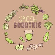 Green smoothie vector illustration Background with vegetable frame