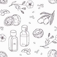 Healing oils outline seamless pattern Healthy background