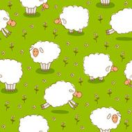 White Sheep Grazing On a Green Meadow N2