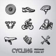 Set of Cycling freehand icons - wheel shoe helmet chain