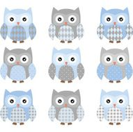 Cute Blue and Grey Owl set