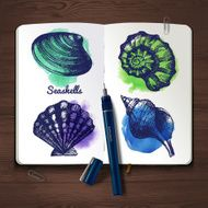 Set of hand drawn sketch and watercolor seashells Sketchbook pa