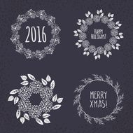 Christmas wreath drawn Vector set N10