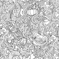 Thanksgiving autumn symbols food and drinks seamless pattern N2
