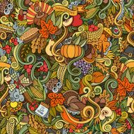 Thanksgiving autumn symbols food and drinks seamless pattern N3
