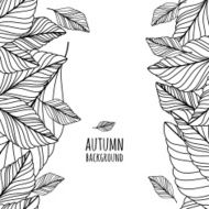 Vector hand drawn doodle leaves seamless pattern Autumn background