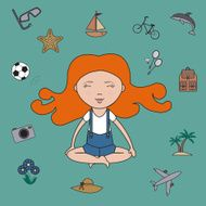 Girl dreams and meditation - vector