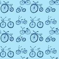 Cute doodle bicycles on white background