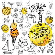 Set of vector doodle summer icons N2