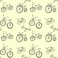 Cute doodle bicycles on white background N2