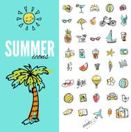Set of vector doodle summer icons N3