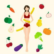Slim girl fresh fruits and vegetables Proper lifestyle