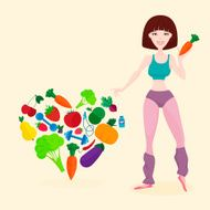 Slim athletic girl fresh vegetables and fruits proper lifes N2