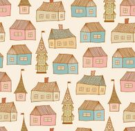 Seamless original pattern with decorative houses N2