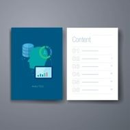 Modern database development flat icons cards design template