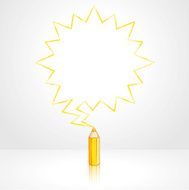 Yellow Pencil Drawing Pointed Starburst Speech Balloon