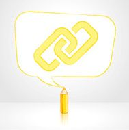 Yellow Pencil Drawing Digital Link Icon in Rectangular Speech Balloon