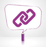 Purple Pencil Drawing Digital Link Icon in Rectangular Speech Balloon