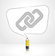 Yellow Lead Pencil Drawing Digital Link Icon Rectangular Speech Bubble