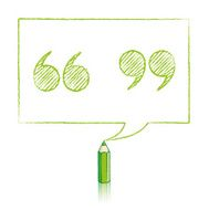 Green Pencil Drawing Quotation Marks in Rectangular Speech Ballo