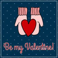 congratulation to the day of Valentine heart in mittens
