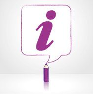 Purple Pencil Drawing Info Icon in Square Speech Balloon
