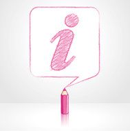 Pink Pencil Drawing Info Icon in Square Speech Balloon
