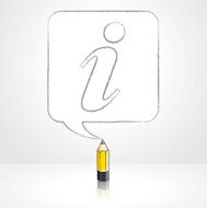 Yellow Lead Pencil Drawing Info Icon in Square Speech Balloon